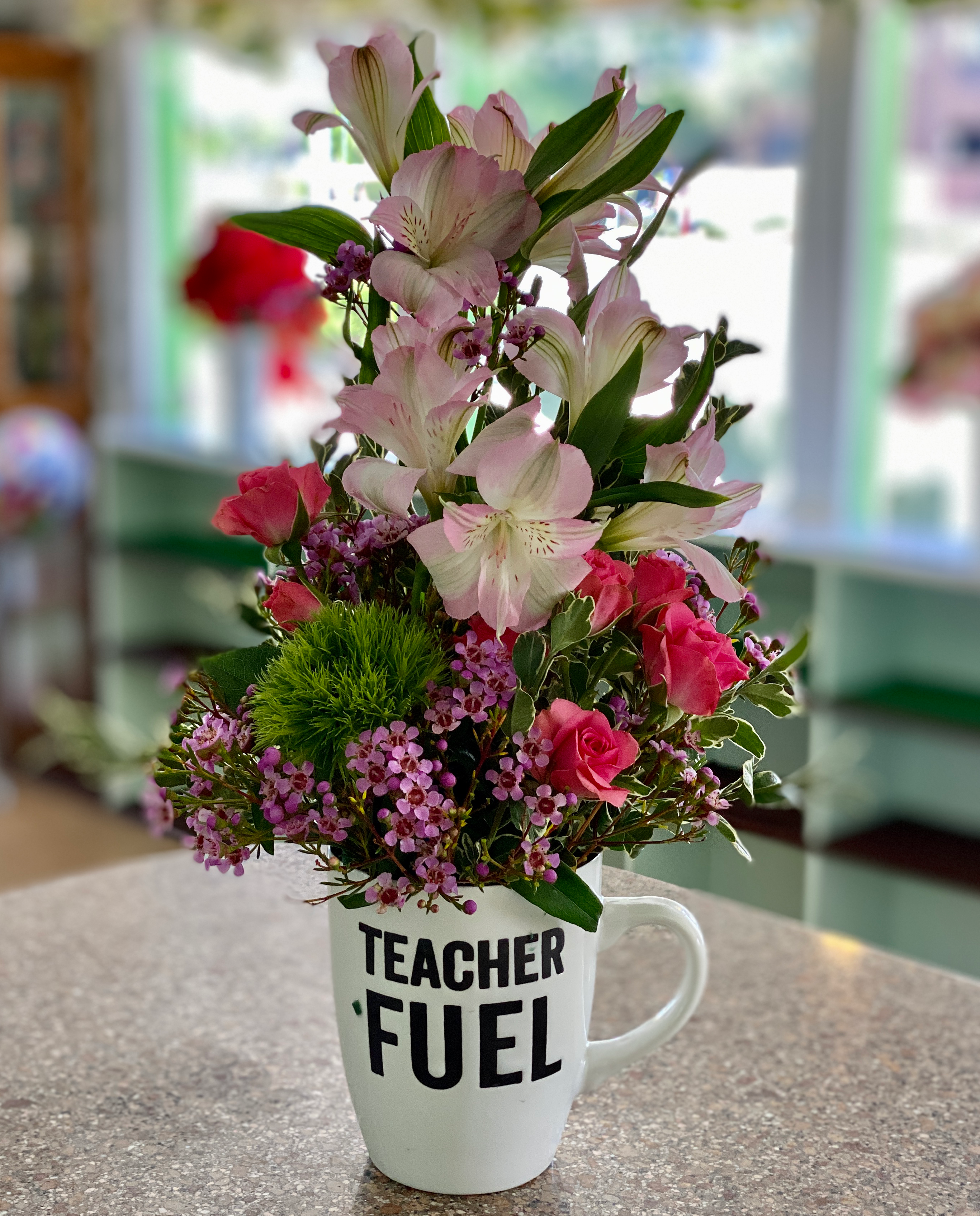 Teacher Fuel mug bouquet