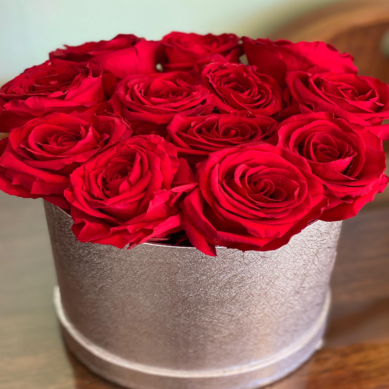 Forever rose silver circular hat box
