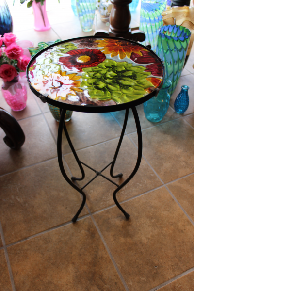 Glasstop Garden Deco Table- Mixed Flowers
