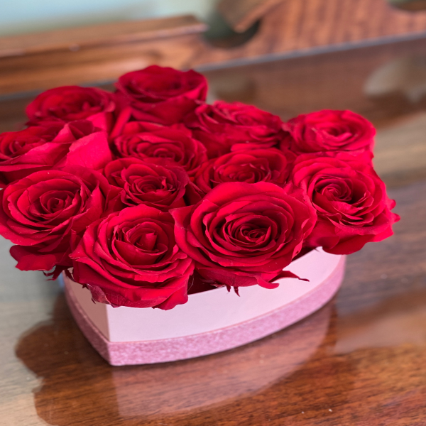Pink heart shaped box forever rose