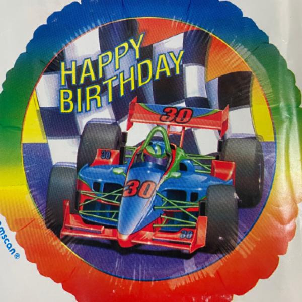 Racecar birthday Mylar