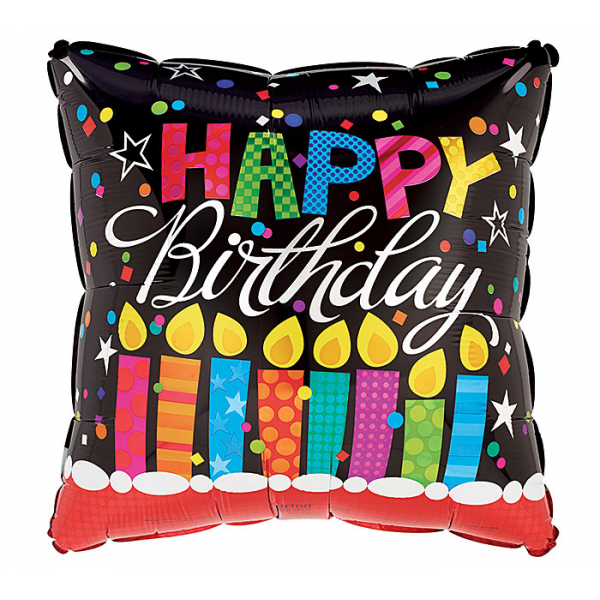 HAPPY BIRTHDAY SQUARE WITH CANDLES BALLOON