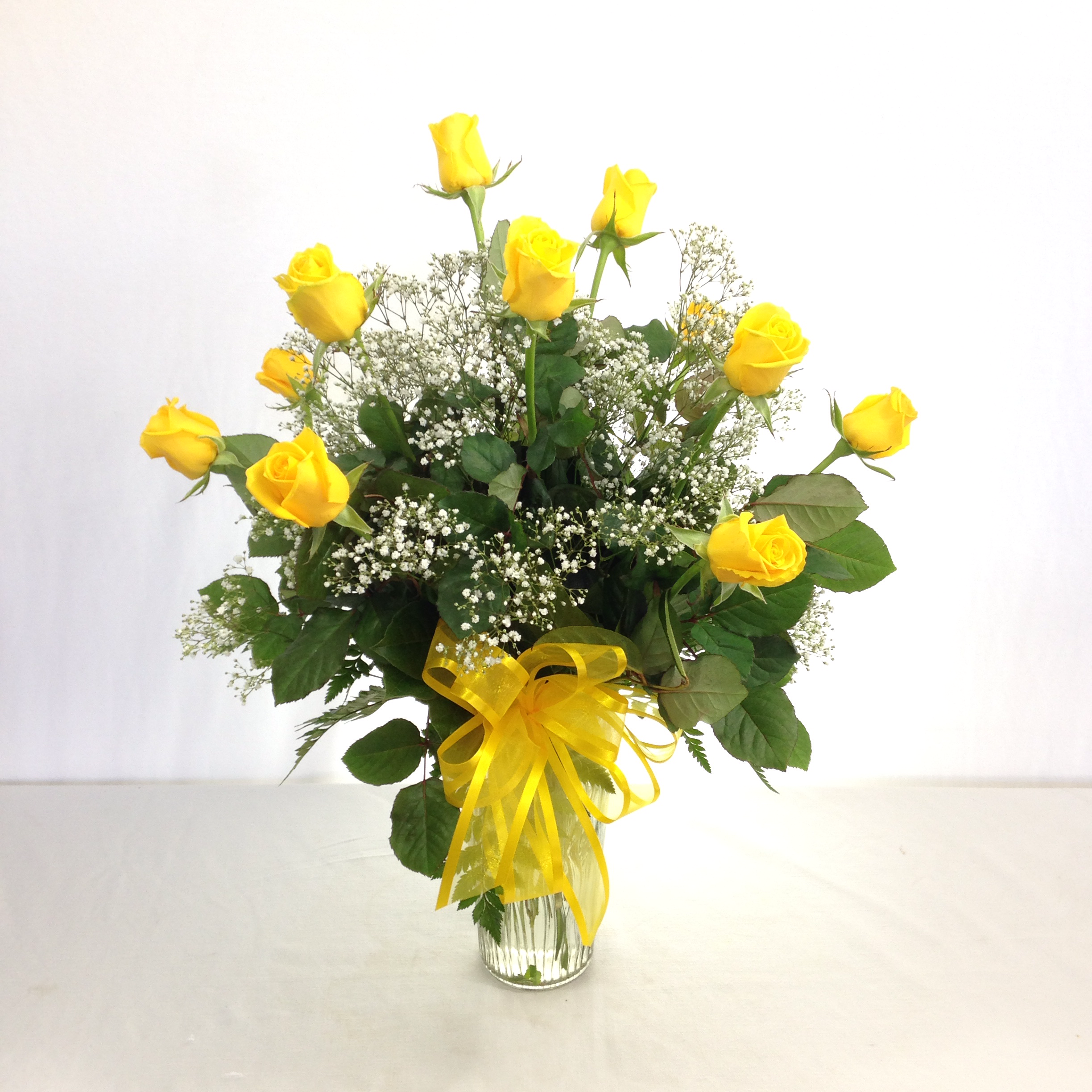 Premium Long Stem Yellow Roses w/Filler