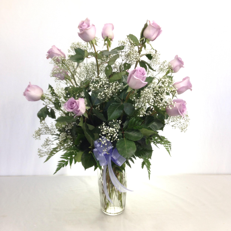 Premium Long Stem Lavender Roses w/Filler