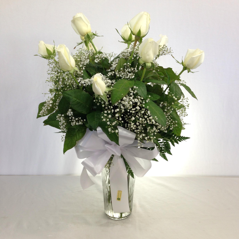 Premium Long Stem White Roses w/Filler