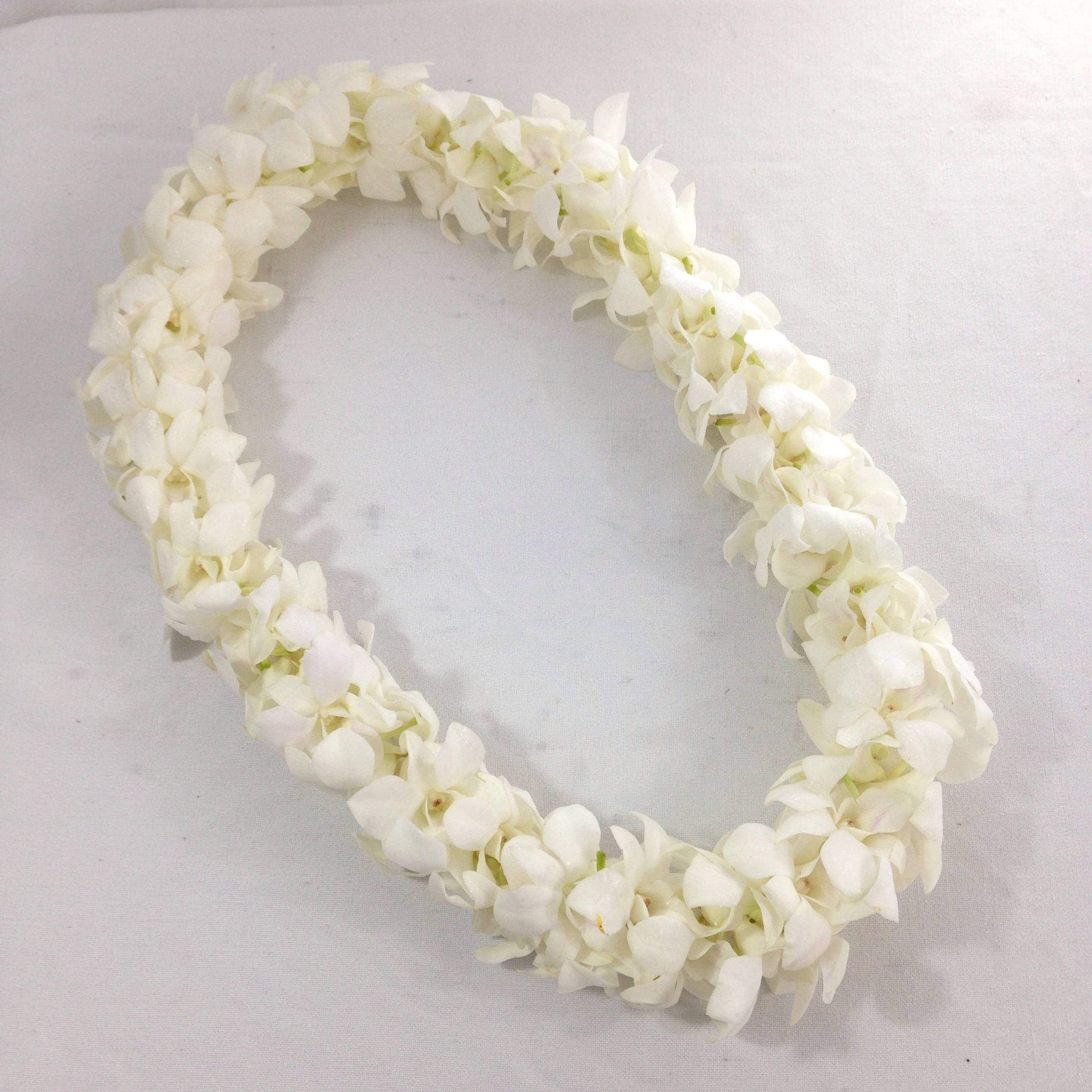 Double White Dendrobium Orchid Lei