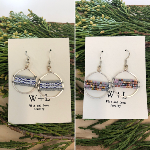 Beaded Hoop Earrings Small