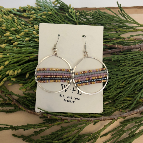 Beaded Hoop Earrings (medium)