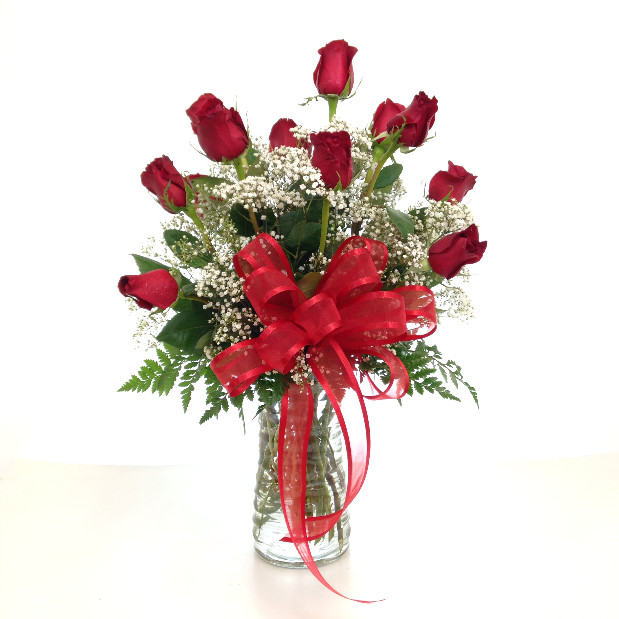 Relles florist sacramento flowers real local florist flowers one dozen premium long stem red roses arranged in a vase with filler flower and greenery reviewsmspy