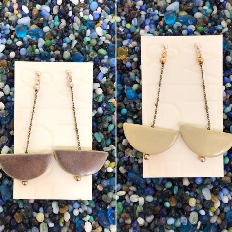 Ceramic Dangler Earrings (half circle)