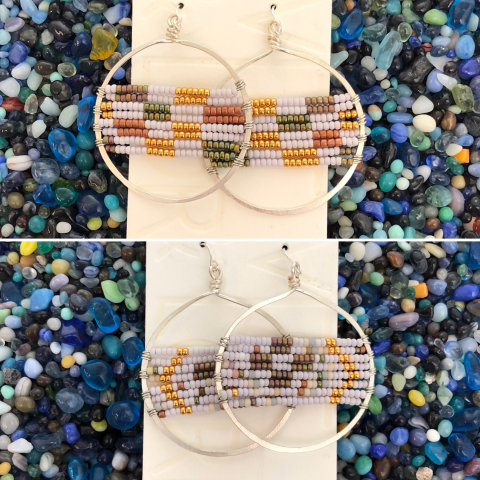 Beaded Hoop Earrings (Large)