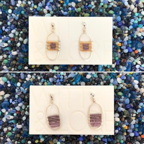 Oval Beaded or Triangle Short Earrings