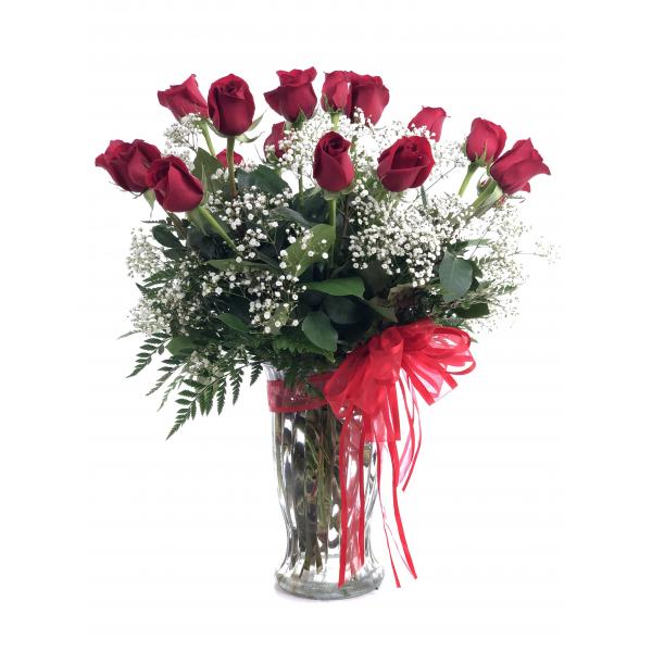 18 Premium Long Stem Red Roses with Filler