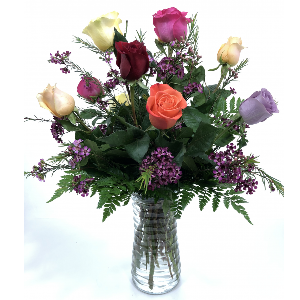 1 dz. Assorted Color Premium Long Stem Roses w/Filler