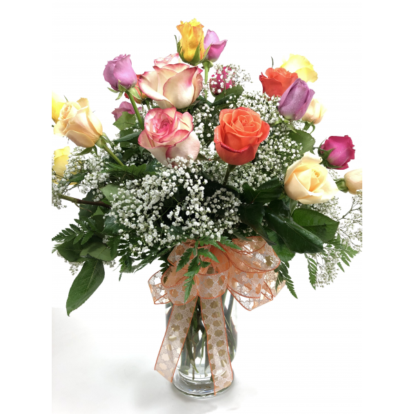 Two Dozen Premium Long Stem Assorted Roses with Filler