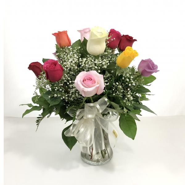 1 dz. Assorted Color Medium Stem Roses w/Filler