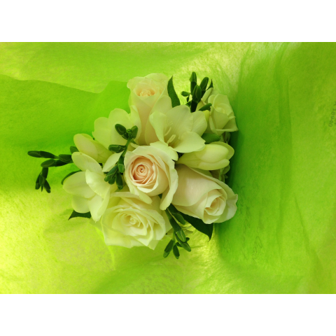 Freesia and rose prom bouquet