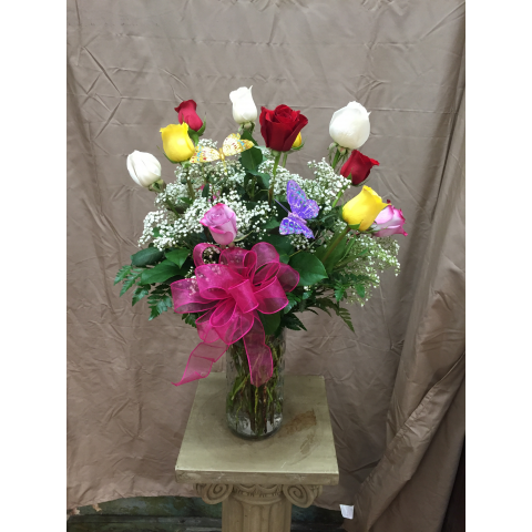 Dozen Multicolored Roses by Park Florist
