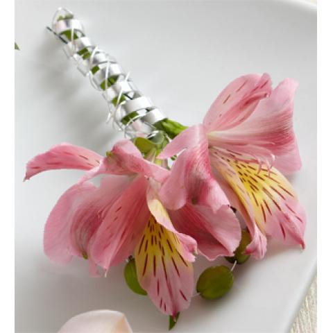 The Pink Peruvian Lily Boutonniere