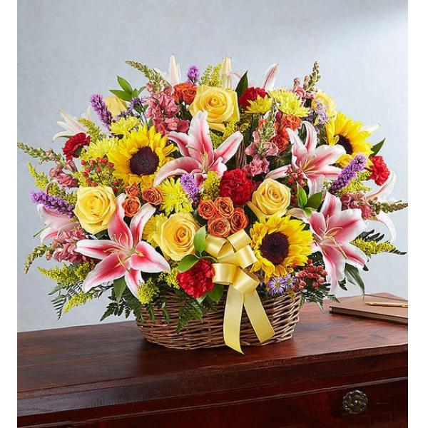 Multicolor Bright Sympathy Basket Arrangement