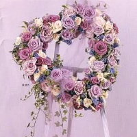 Open Heart of White, Pink & Lavender Roses