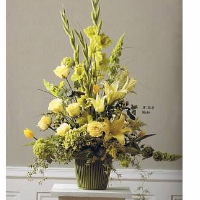 Yellow & Green Floral Basket