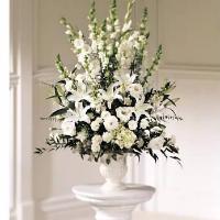 All White Urn Arrangement