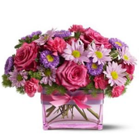 Cube Vase Of Assorted Pink Blooms