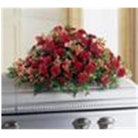 Casket  Spray - Red With Greenery
