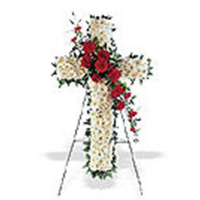 Floral Cross w/ Red Rose Swag