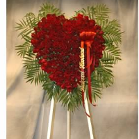Solid Red Rose Heart on Easel