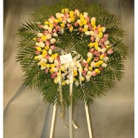 Yellow, Pink & Green Rose Wreath