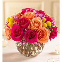 Bowl Of Dark Pink And Orange Roses