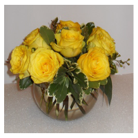 Bubble Bowl Of Yellow Roses