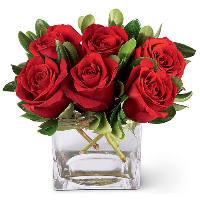 Cube Vase Of 6 Red Roses