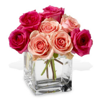 Cube Vase Of Roses In Shades Of Pink