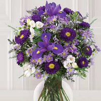Vase Of Lavender & Purple Flowers