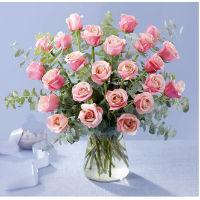 24 Glorious Pink Roses Arranged In Vase