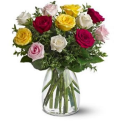 Assorted Roses In Vase