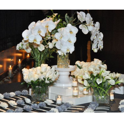 White Escort Table Centerpiece