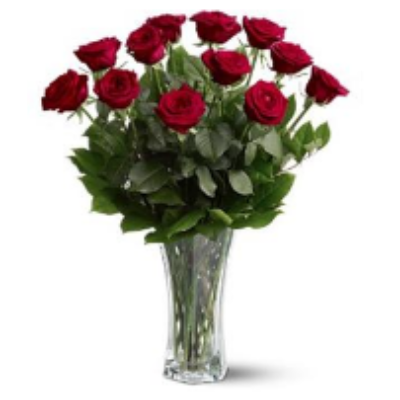 Traditional Vase Of 12 Red Roses
