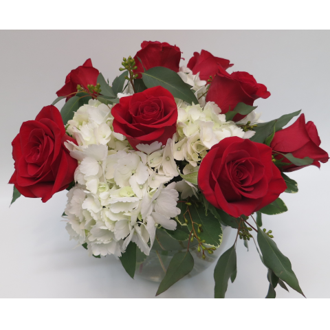 KD-2216 Bowl of Elegant Roses and Hydrangeas