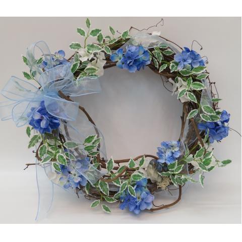 KW-15 Blue hydrangea wreath