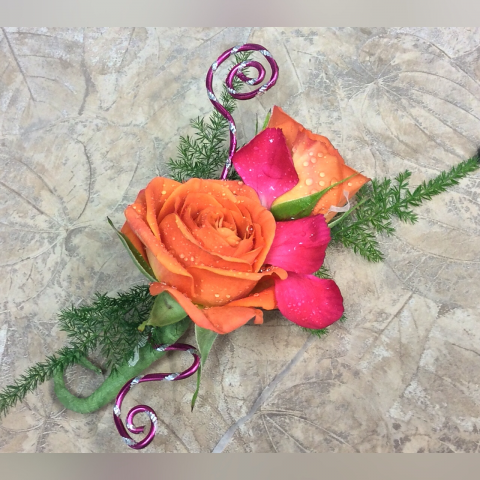 CUSTOM BOUTONNIÈRE HOT PINK AND ORANGE