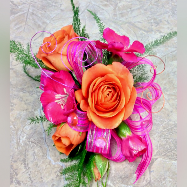 CUSTOM CORSAGE-HOT PINK AND ORANGE