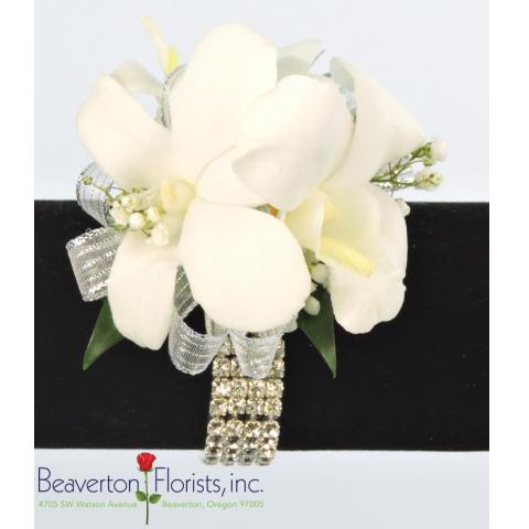 3 White Dendrobium Dazzle Wristlet Corsage