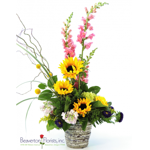 Beaverton Florists Beaverton - Send the bright colors of summer with this gorgeous mix in a modern stone pot.