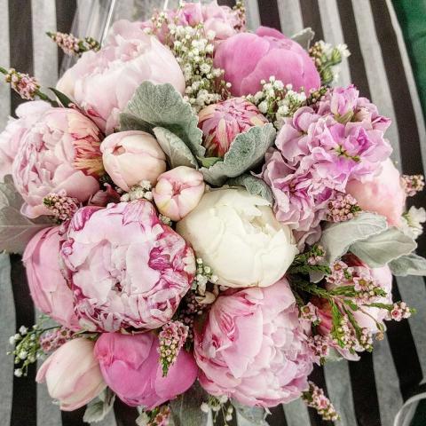 Beaverton Florists Beaverton - Posh pink summer bouquet. Peonies, stock, tulips and dusty miller.