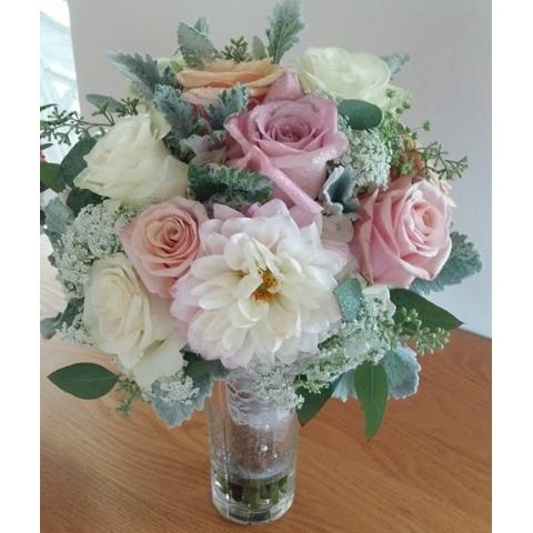 Beaverton Florists Beaverton - Adding lace to pastel dahlias and roses.