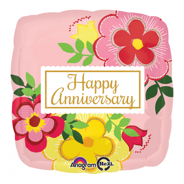 Happy Anniversary Square Pink Floral